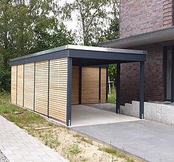 Carport modern KLARE LINIE anthrazit Holz Stahl