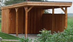 Carport mit Abstellraum Holz massiv Deckelschalung