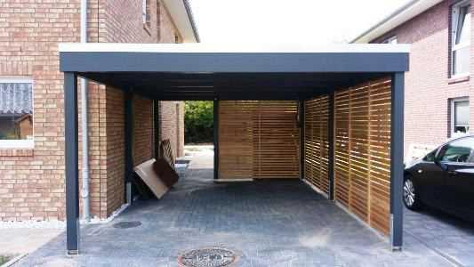 Bausatz Carport modern anthrazit  mit Seitenverkleidung