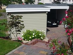 Carport mit Abstellraum farbbehandelt grau weiß