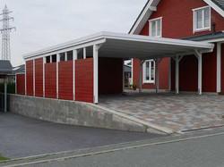 Doppelcarport weiß rot, Schweden-Carport