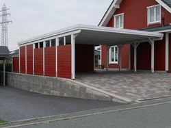 Doppelcarport Holz rot weiß