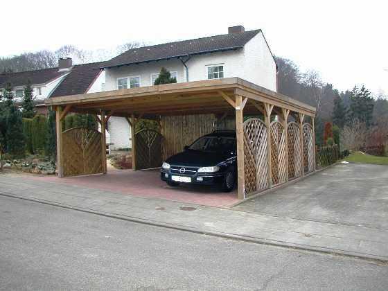 Carport Kdi Kiefer mit Zaunelementen FRE