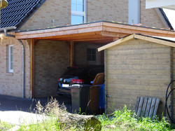 Carport Lärche Holzblende Gründach