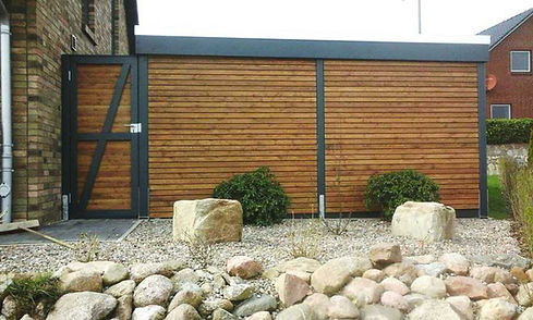 Carport mit Abstellraum modern Lärche Designcarport FREESE Holz
