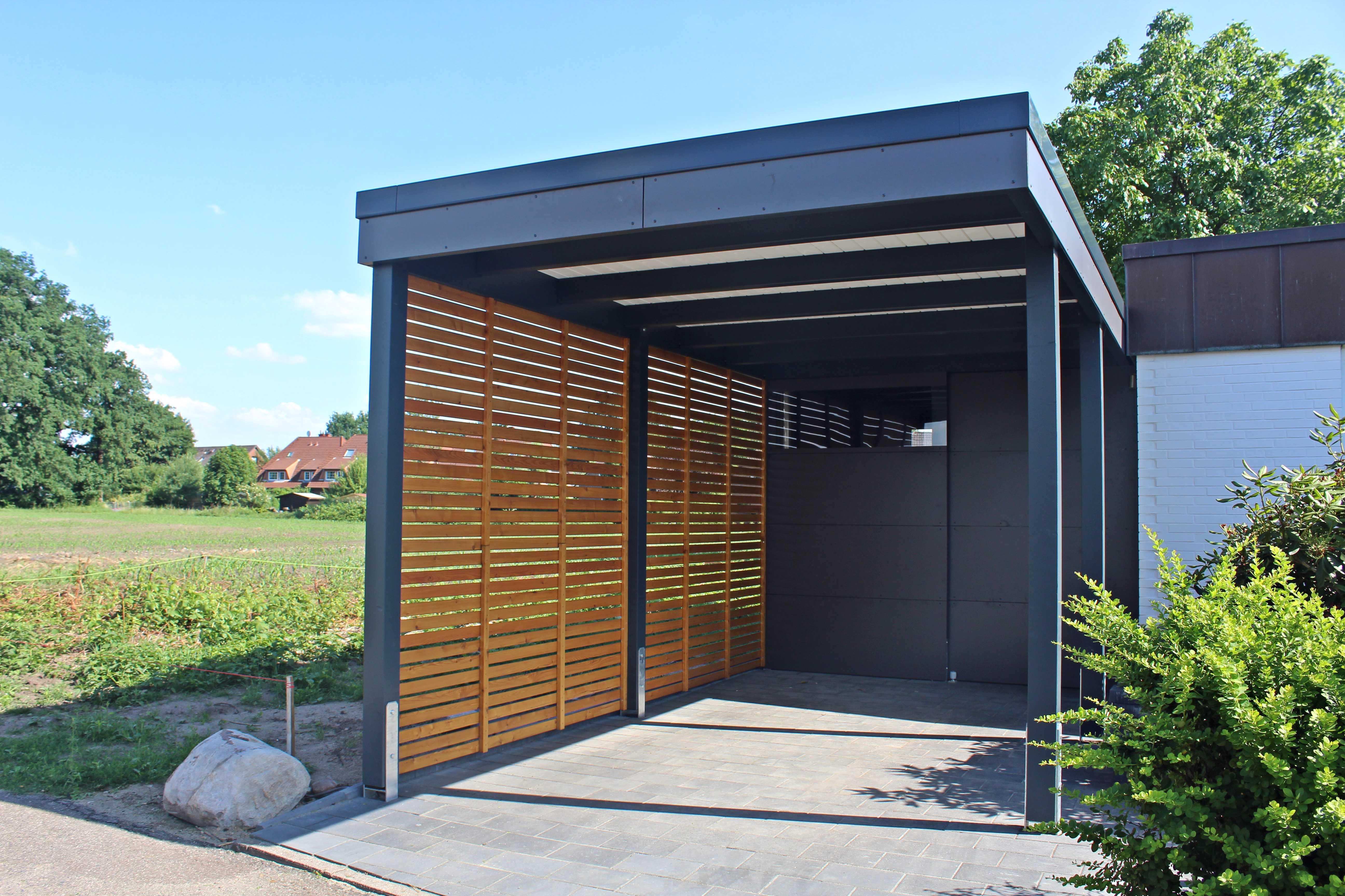 Carport einzel modern anthrazit grau designed Hamburg