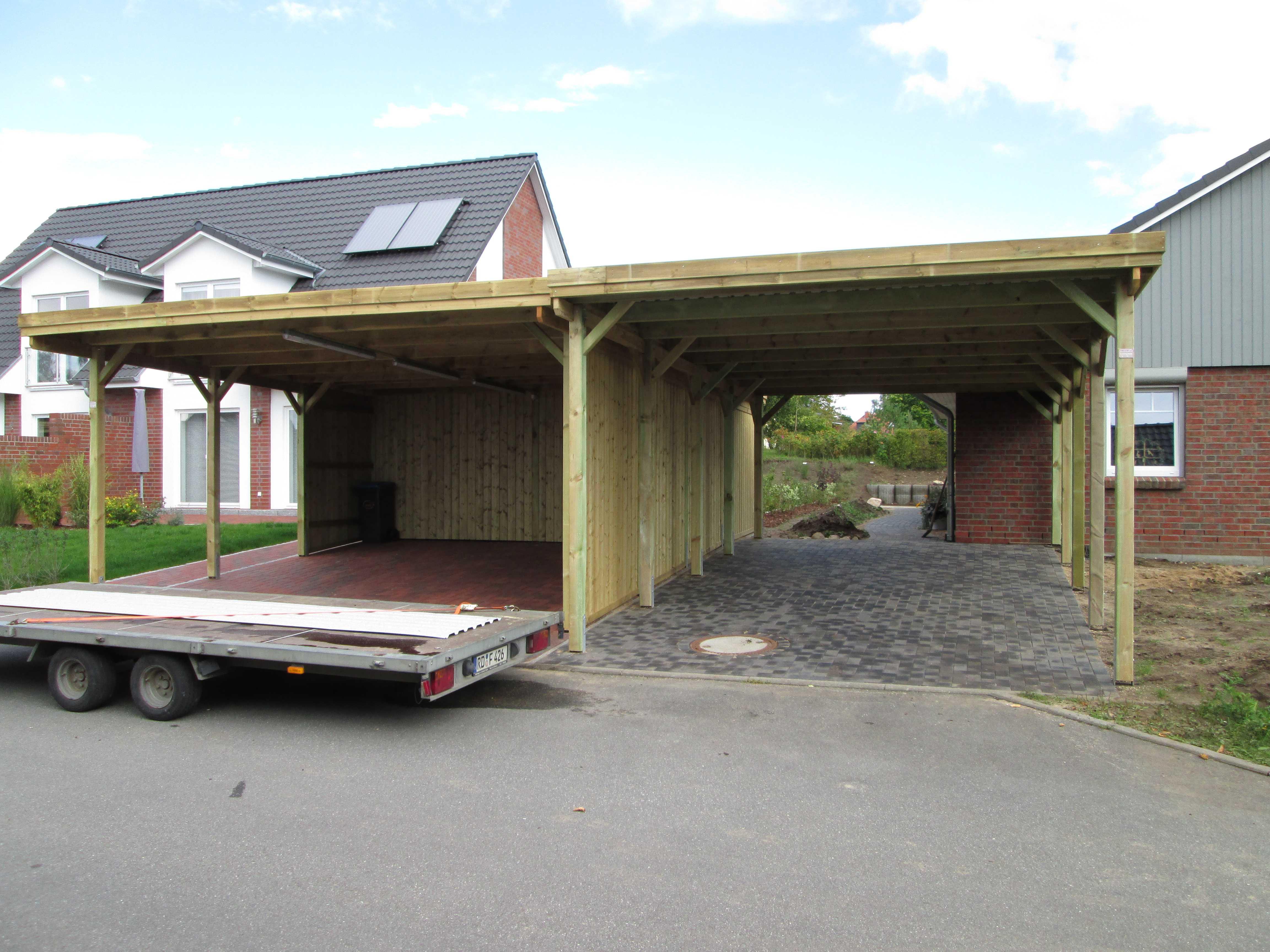 Carport KDI mit Flachdach, massiver Holz