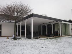 Terrassenüberdachung KVH weiß mit Landhausblende