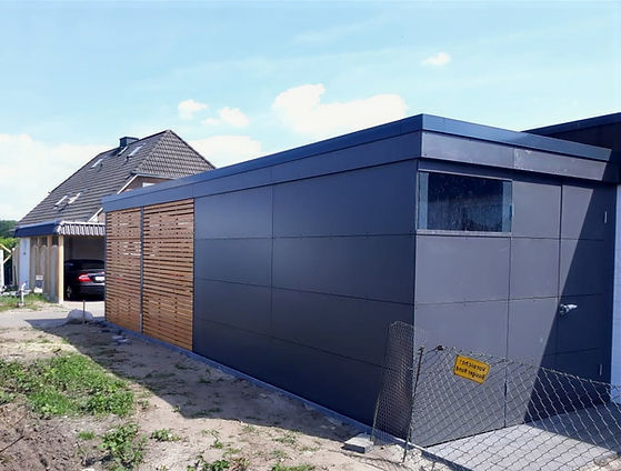 Carport modern grau Schichtstoffplatten.