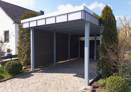 Carport modern Holz WPC Stahl silber grau