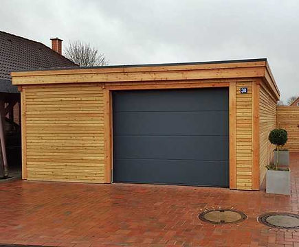 Holzgarage mit Garagentor kaufen Kiel Hamburg