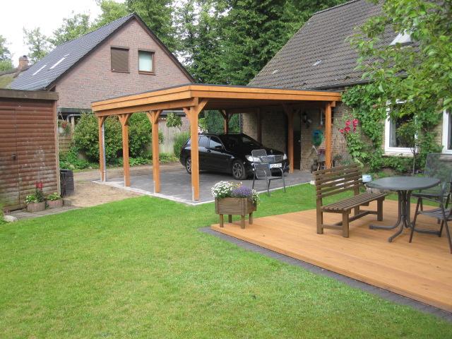 Carport Holzblende und Gründach 4