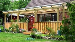 Terrassenüberdachung individuell nach Maß gefertigt Kiefer Sichtschutz