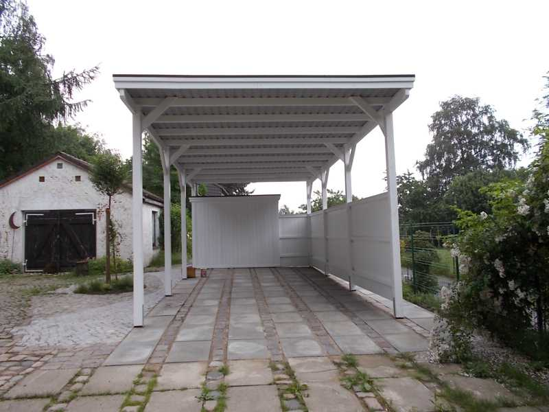 Wohnmobil-Carport Holz FREESE Holz weiss
