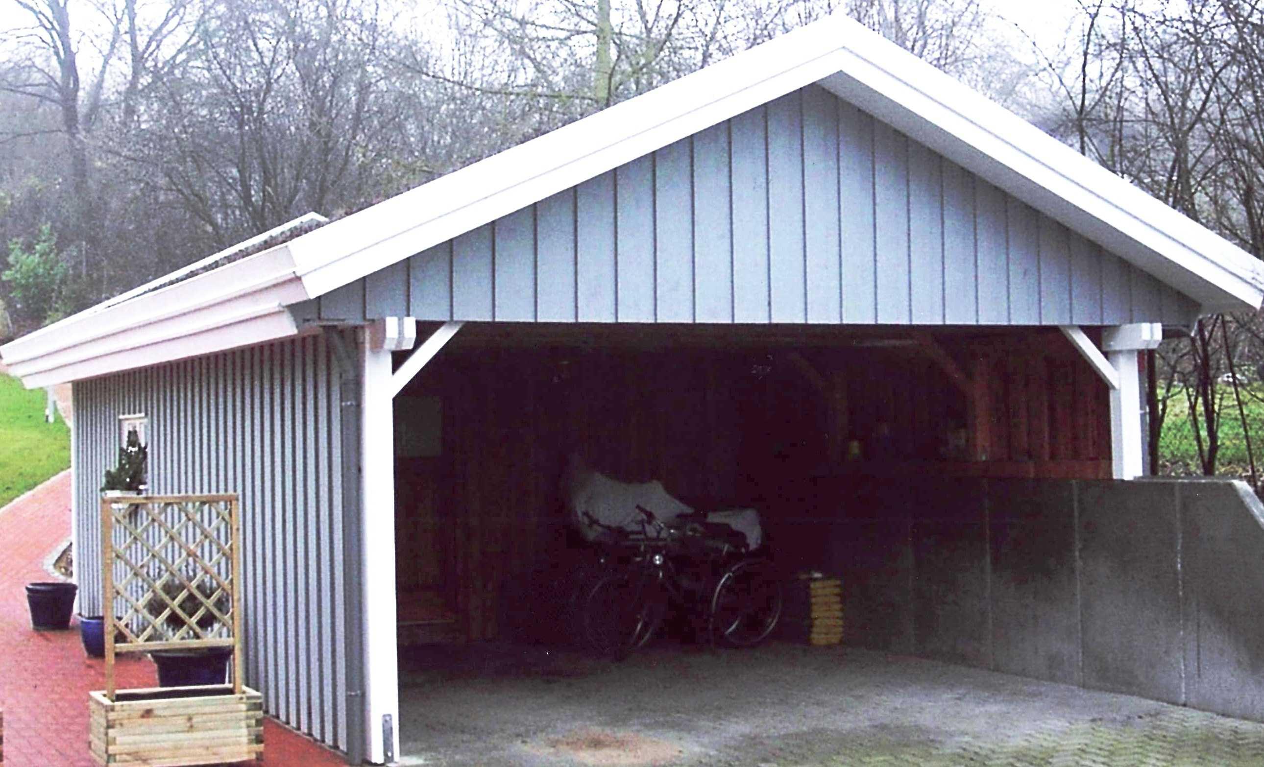 Carport Satteldach auf Mauer