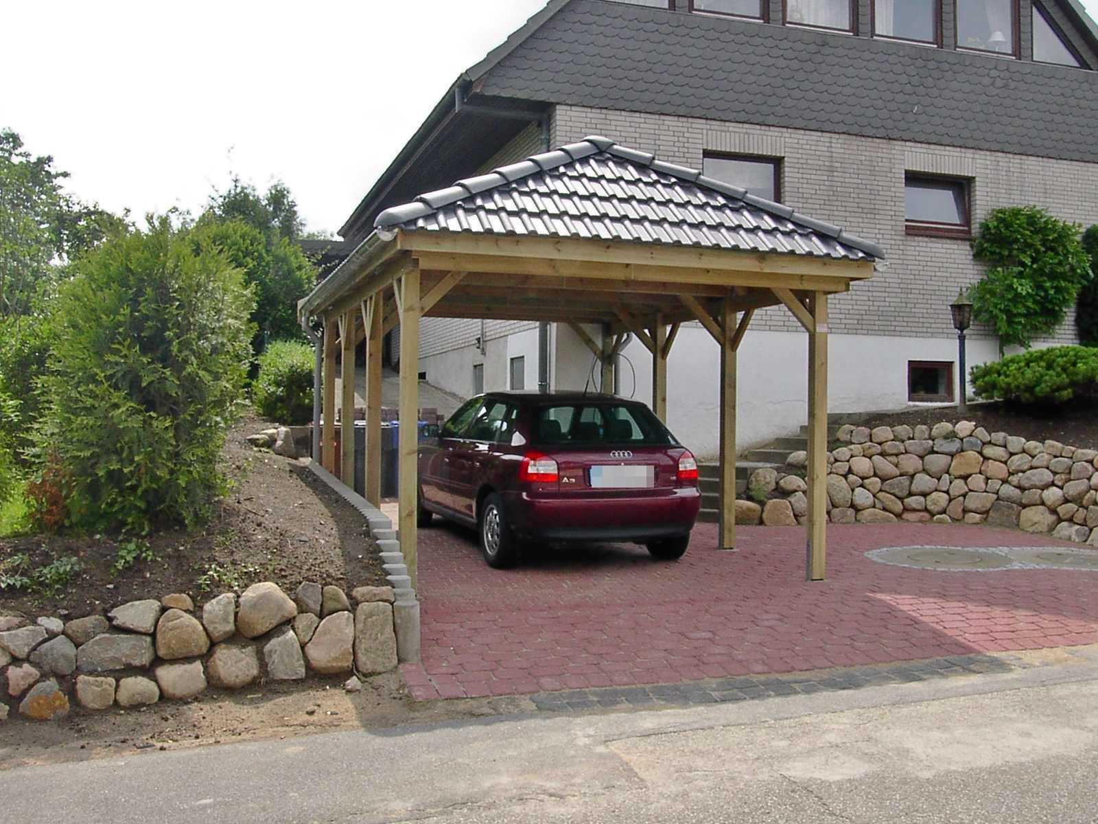 Carport 1 Auto Walmdach Kiefer kdi