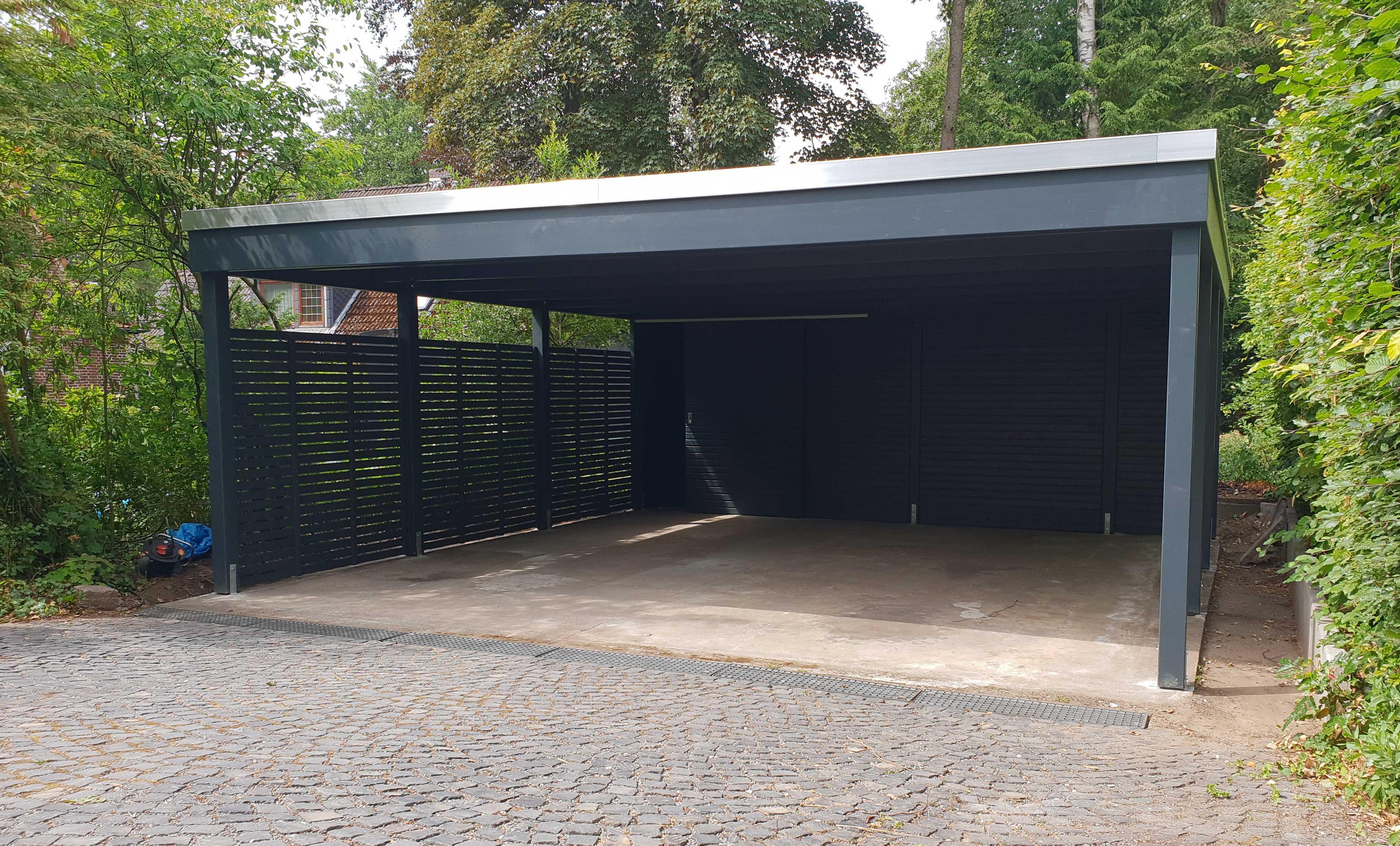 Carport zum Selbstaufbau Doppelcarport modern anthrazit grau