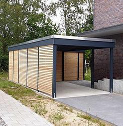 Schönes modernes Carport KLARE LINIE Freese Holz mit Abstellraum