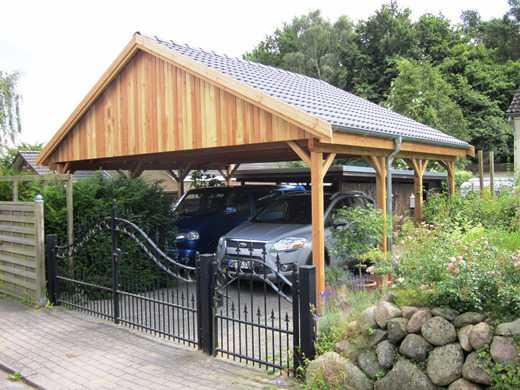 Carport Satteldach aus Lärche massiv