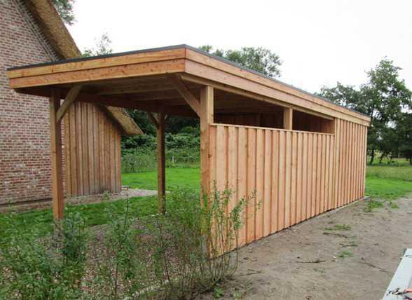 Holzcarport Flachdach Lärche