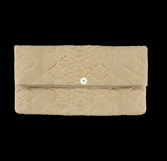 Quilted Beige Clutch