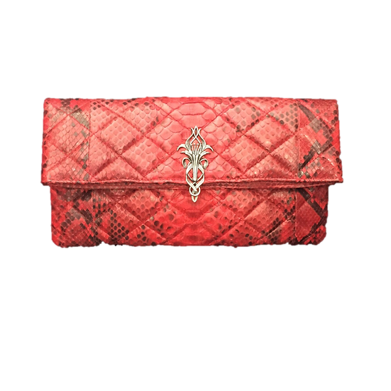 Silver Lily Quilted Red Clutch