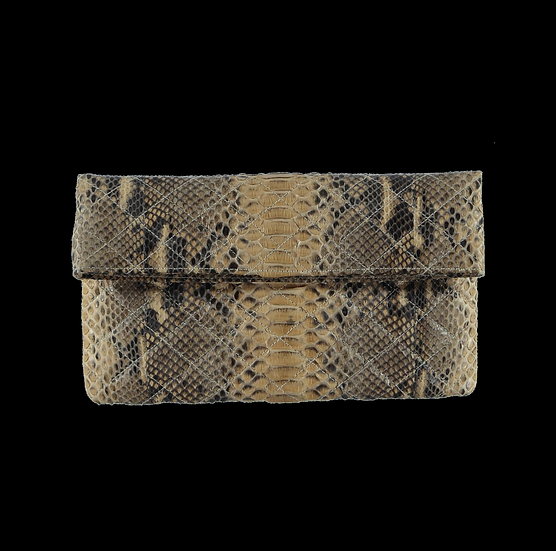 Quilted Beige Snake Skin Clutch