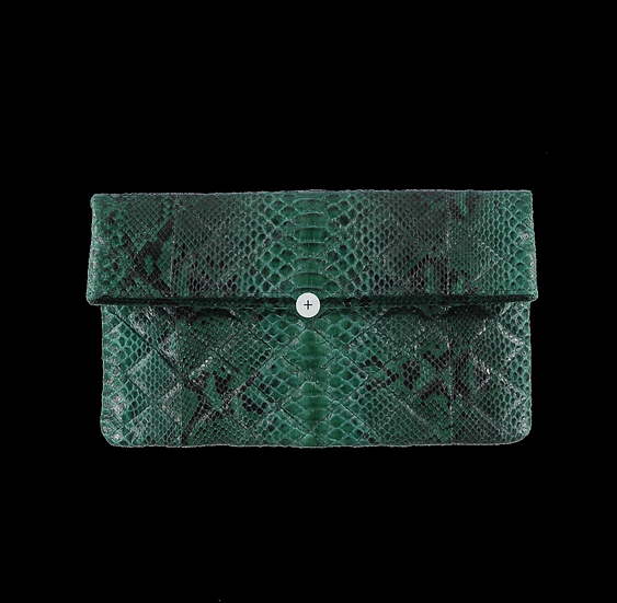 Quilted Emerald Snake Skin Clutch