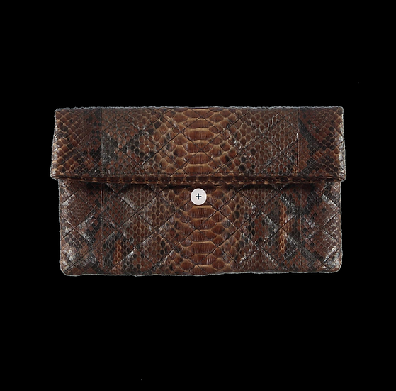 Quilted Brown Snake Skin Clutch