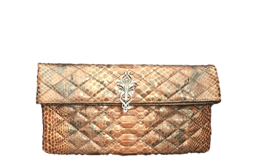 Silver Lily Quilted Brown Clutch