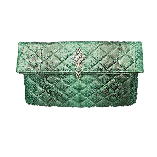 Silver Lily Quilted Emerald Clutch
