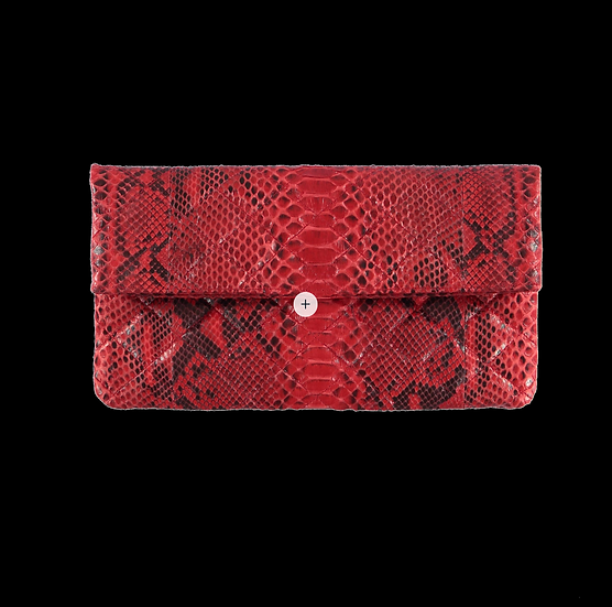 Quilted Red Snake Skin Clutch