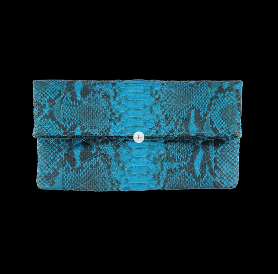 Quilted Turquoise Snake Skin Clutch