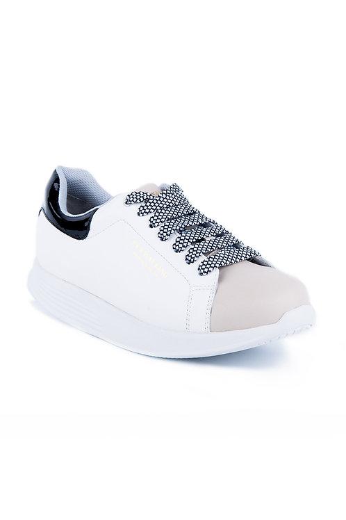 PEN WALKING 3- White/ beige leather sneaker