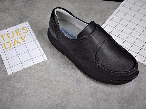 PEN WALKING 3- Black leather sneaker with fastening tape