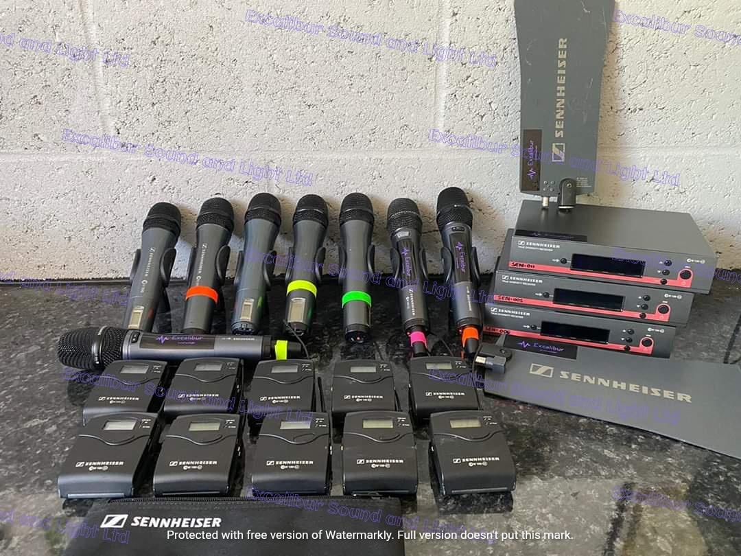 Sennheiser Radio Mic selection. Available to hire. Hand held with body packs, LAV or headset mics