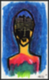 Abstract Figure, Primitive Portrait, Spiritual Light, Colorful Bust, Art, Fine Art