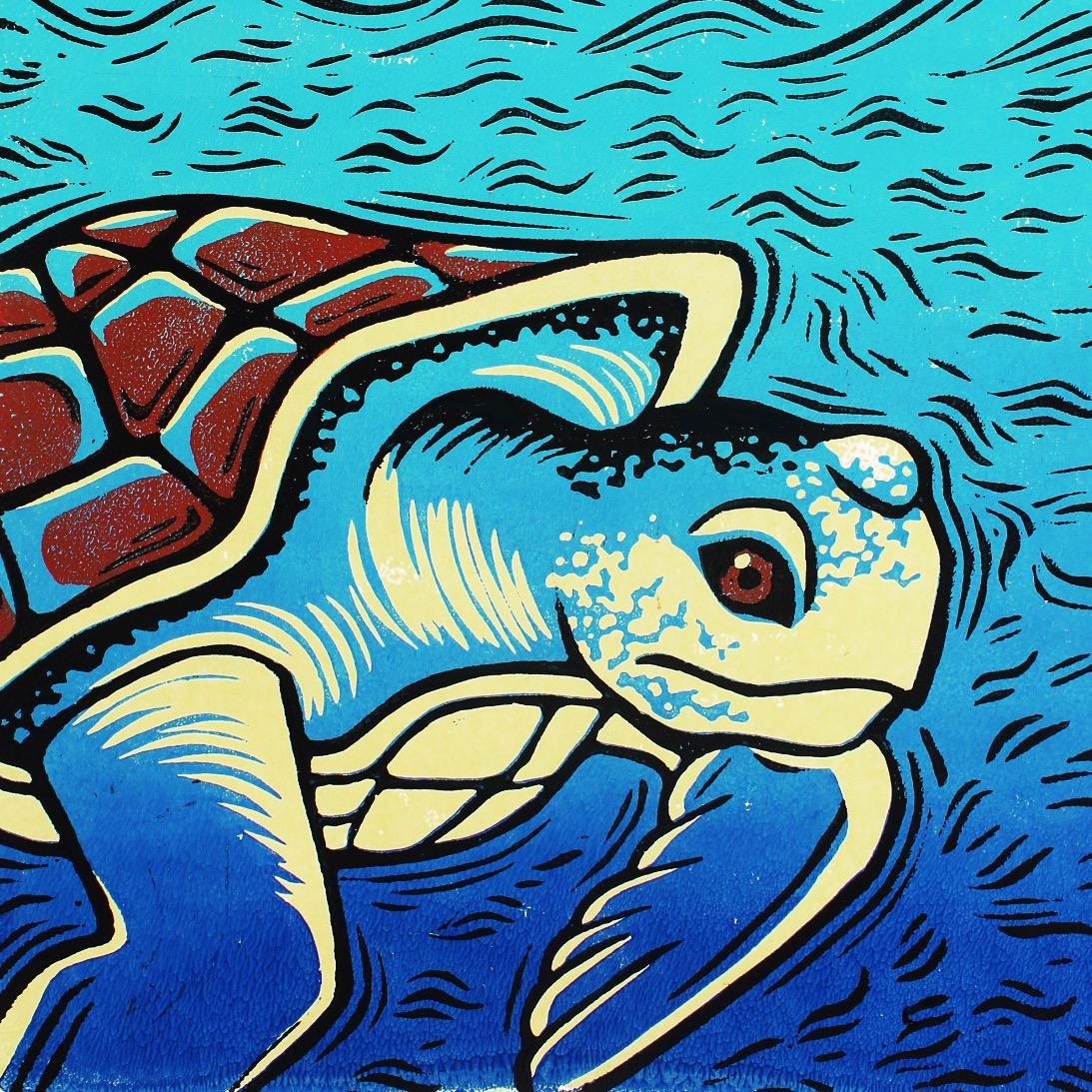 Turtle linoprint
