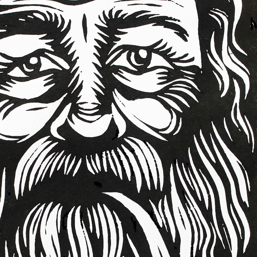Bearded man - linoprint