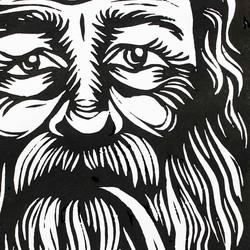 Bearded man - linoprint