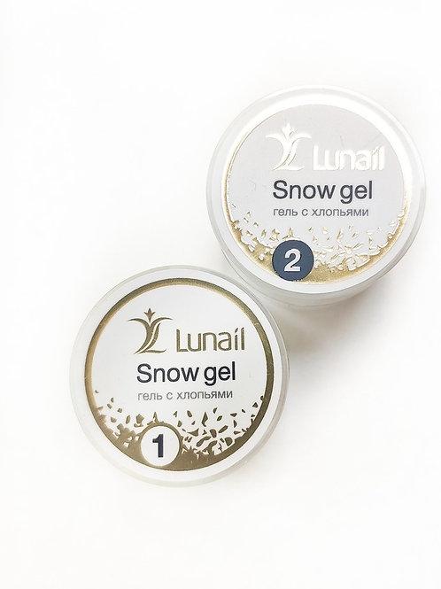 Гель Lunail с хлопьями для дизайна Snow gel  (5 мл)