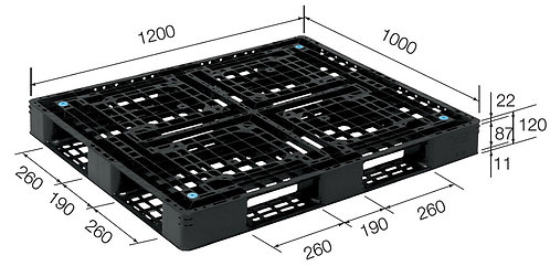 4C-121020-D4 | Cargo Plastic Pallet | One-Way Plastic Pallet