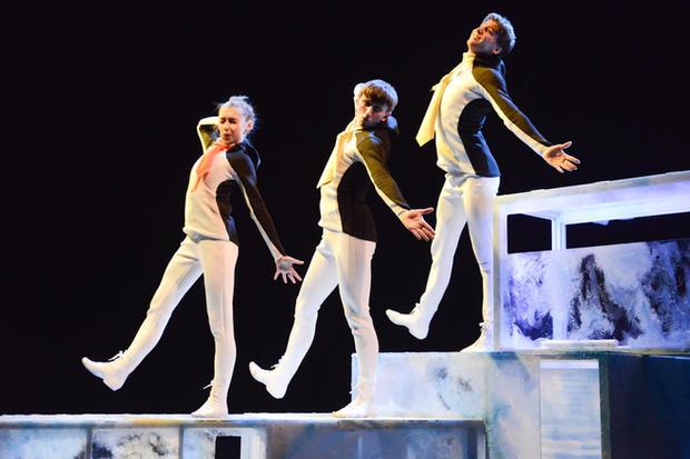Penguins  Photo / Llun: Robert Day Performers / Perfformwyr: Corey Claire Annand, Osian Meilir and Jack Webb
