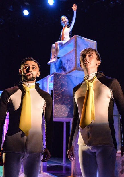 Penguins  Photo / Llun: Robert Day Performers / Perfformwyr: Dominic Coffey, Olivia Van Niekerk and Osian Meilir