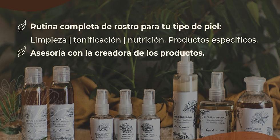 Biocosmética agroecológica. Demostración de productos y stand de venta.