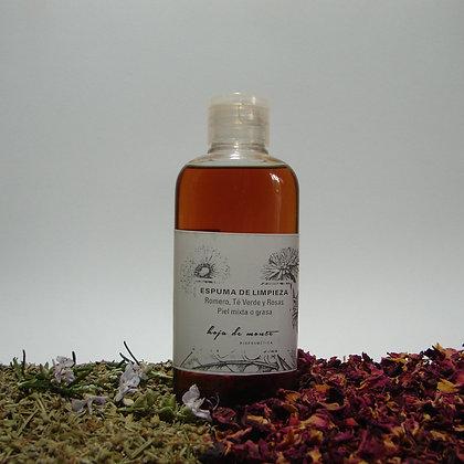 Espuma de limpieza piel normal a mixta. Romero Te verde & Rosas