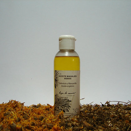 Aceite Masajes Bebés. Calendula, manzanilla y aceite de girasol orgánico