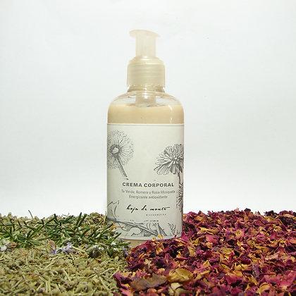 Crema corporal. Humectante antioxidante , Romero, Te Verde, Rosa Mosqueta.