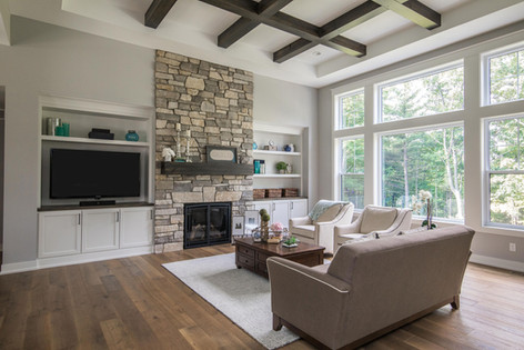 Wood Beams Tray Ceiling Great Room
