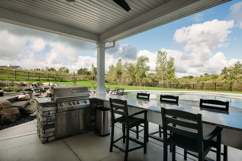 Outdoor Grilling Station by Pool Deck